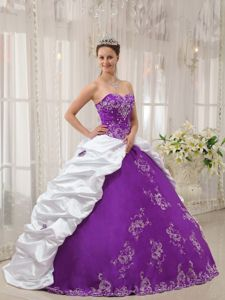 Sweetheart Embroidered Exclusive Quinceanera Dresses in Purple and White