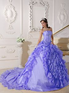 Exclusive Strapless Lilac Beaded Taffeta Quinceanera Gowns with Chapel Train