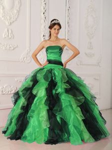 Strapless Green and Black Ruffled Impressive Quinceanera Dresses with Appliques