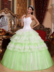 Attractive Straps Yellow Green and White Quinceanera Dresses with Ruffles