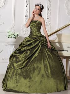 Gorgeous Strapless Olive Green Beaded Sweet 16 Dresses with Pick Ups