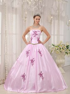 Sweet Strapless Appliqued Taffeta Quinceanera Gowns in Pink in Alpharetta