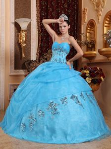Attractive Sky Blue Sweetheart Appliqued Quinceanera Dresses in Athens