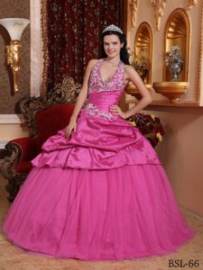 Halter Appliqued Rose Pink Senior Quinceanera Dresses with Pick Ups in Bridgeport