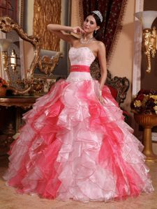 Multi-color Beaded Sweetheart Full-length Quinceanera Gowns with Ruffles