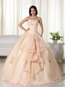 Cute Peach Strapless Long Sweet Sixteen Dresses with Embroidery in Lisle