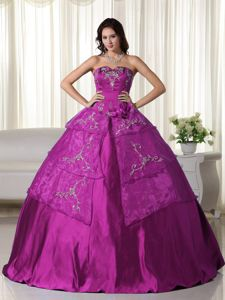 Strapless Fuchsia Floor-length Quinceanera Gown with Embroidery in Hilo