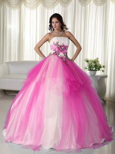 White and Hot Pink Strapless Long Dress For Quinceanera with Appliques