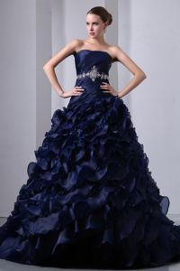 Elegant Navy Blue Lace-up Beaded Brush Quinceanera Gowns with Ruffles