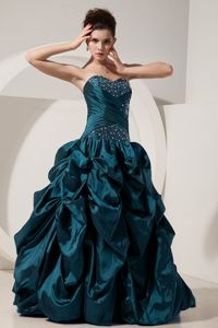 Turquoise Sweetheart Floor-length Quinces Dresses with Pick-ups in Peoria