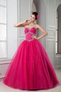 Lovely Hot Pink Sweetheart Floor-length Quinceanera Gown with Beading