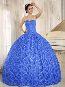 Pretty Sweetheart Blue Long Quinces Dresses with Sequins and Embroidery