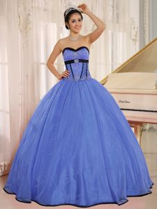 Blue Beaded Sweetheart Floor-length Sweet Sixteen Dresses in Barrington