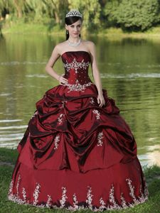 Burgundy Lace-up Long Quinceanera Gowns with Pick-ups and Embroidery