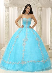 Baby Blue Beaded Sweetheart Floor-length Quince Dresses with Appliques