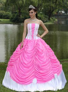 Hot Pink Strapless Long Quinceanera Gown Dress with Flower and Pick-ups