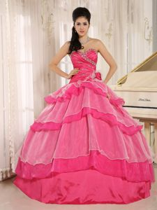 Hot Pink Sweetheart Long Quinceanera Dresses with Ruffle-layers in Aurora