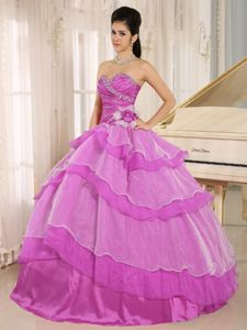 Lavender Beaded Sweetheart Quince Dresses with Ruffle-layers and Flower