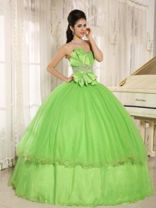 Special Spring Green Sweetheart Long Sweet Sixteen Dresses with Bowknot