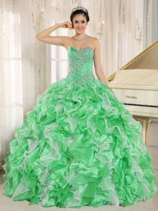 Cute Green Beaded Sweetheart Full-length Quinceanera Gowns with Ruffles