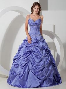 Elegant Lilac Spaghetti Straps Long Quince Dresses with Pick-ups in Easton