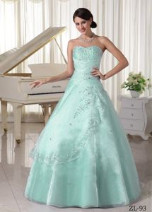 Pretty Light Blue Beaded Long Quinceanera Gown Dresses with Appliques
