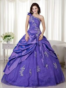 Purple One Shoulder Full-length Quince Dress with Pick-ups and Appliques