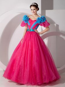 V-neck Red Full-length Quinceanera Gowns with Blue Flowers in Bethesda