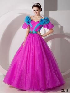 Fuchsia V-neck Floor-length Quinceanera Gown Dresses with Blue Flowers