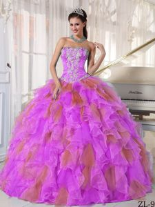 Multi-color Appliqued Strapless Floor-length Sweet 15 Dresses with Ruffles