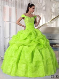 Yellow Green Off The Shoulder Beaded Long Quince Dresses with Pick-ups
