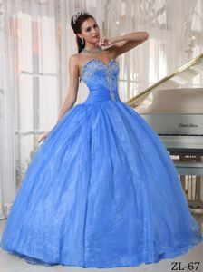 Sweetheart Aqua Blue Floor-length Quince Dresses with Appliques in Acton