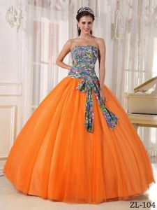 Multi-color Pattern and Bowknot Sweet Sixteen Quinceanera Dresses