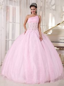 Baby Pink Single Shoulder Sweet 16 Dresses with Diamonds in Fayetteville