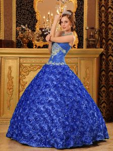 Rolling Flowers Quince Dresses in Blue with Appliques near Hurricane