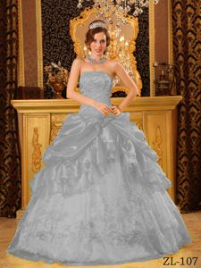Discount Ruffles and Pick Ups Dress for Quince in Gray near Lewisburg