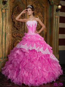 Ruffled Sweet Sixteen Quinceanera Dresses with Lace Hemline near Weirton
