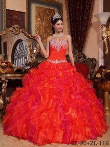 Sassy Jewelry Ruche and Ruffles Decorated Red Quince Dresses in Camas