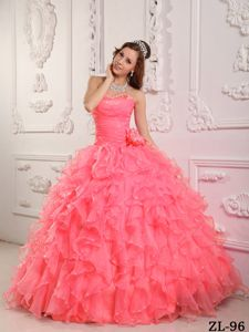 Ruche Flowers and Ruffles Decorated Quinceanera Gown in Enumclaw