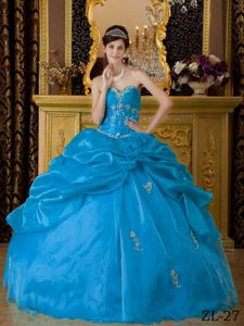 Pick Ups and Appliques Blue Ball Gown Quinceanera Dress in North Bend