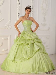 Appliques and Pick Ups Flower Dress For Quinceanera in Yellow Green