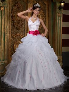White Halter Top Beading Pick Ups and Flower Sash Quinces Dresses