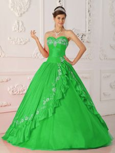 Sweetheart Green Quinceanera Gown with Floral Embroidery in Washougal