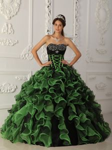 Black and Green Ruffled and Beaded Quinceanera Gown in Auburn