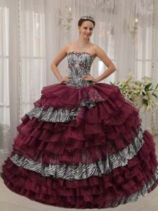 Sweetheart Floor-length Burgundy Quince Dress with Ruffles and Pattern