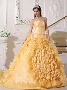 Gold Ruffled Chapel Train Sweet Sixteen Dress with Pick-ups in Macon