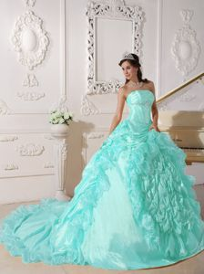 Apple Green Strapless Quinceanera Dress with Chapel Train and Pick-ups