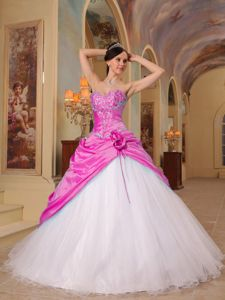 Sweetheart A-line Hot Pink and White Sweet 15 Dresses with Flowers