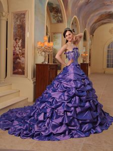 New Slate Blue Strapless Court Train Quinceanera Dress with Pick-ups