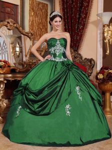 Green Sweetheart Princess Quince Dresses with Appliques in Fullerton